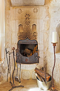 Candle Stand Prints - Olde Worlde fireplace in a Cave  Print by Kantilal Patel