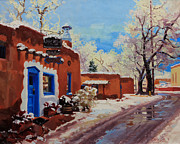 Winter Landscape Painting Originals - Oldest Adobe House  by Gary Kim