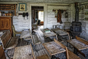 Old School House Posters - OLDEST SCHOOL HOUSE c. 1863 - MONTANA TERRITORY Poster by Daniel Hagerman