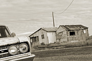 Black And White Photos Originals - Olds Cutlass 63 Headlights and huts BW by Philippe Taka