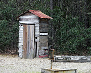 Weathered Digital Art Prints - Oldtime Outhouse - Digital Art Print by Al Powell Photography USA