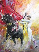 Bulls Painting Originals - Ole by Miki De Goodaboom