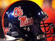 Ncaa Prints - Ole Miss Football Helmet Print by University of Mississippi