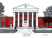 Historic Buildings Drawings Mixed Media - Ole Miss by Frederic Kohli
