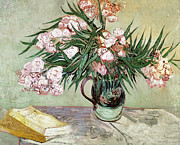 Pink Blossoms Framed Prints - Oleanders and Books Framed Print by Vincent van Gogh