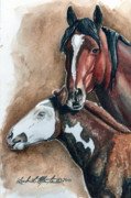 Mustang A Day Challenge Paintings - Olga and PJ by Linda L Martin
