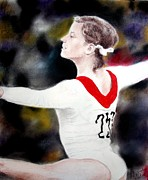 Olga Korbut Performing At The 1972 Summer Olympics In Munich Print by Jim Fitzpatrick
