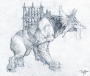 Fantasy Drawings - Oliphaunt by Curtiss Shaffer