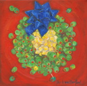Santa Claus Paintings - OLIVE Christmas Wreath by Lynn Weatherford