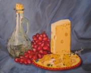 Olive Oil Originals - Olive oil Grapes and Cheese by Brenda Morgado