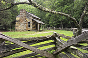 Cabin Wall Framed Prints - Oliver Cabin in Cades Cove Framed Print by Randall Nyhof
