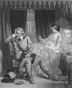 Ruler Posters - Oliver Cromwell And His Dying Daughter Poster by Photo Researchers
