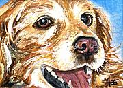 Charity Painting Metal Prints - Oliver from muttville Metal Print by Mary-Lee Sanders