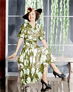 Flowered Dress Framed Prints - Olivia De Havilland, Ca. 1937 Framed Print by Everett