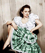 Plaid Skirt Framed Prints - Olivia De Havilland, Ca. 1948 Framed Print by Everett