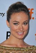 Hair Bun Photo Framed Prints - Olivia Wilde At Arrivals For Butter Framed Print by Everett