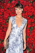 Plunging Neckline Prints - Olivia Wilde Wearing A Narciso Print by Everett
