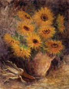 Depicting Paintings - Olla with Sunflowers by Rene Hart