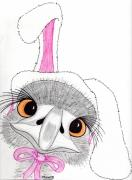 Ostrich Mixed Media - Ollie as the Easter Bunny by Connie Moore