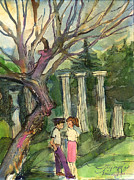 Greece Drawings - Olympia Greece Romance by Mindy Newman