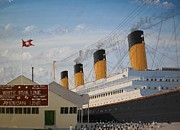 Liner Paintings - Olympic at Ocean Dock by James McGuinness