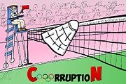 Athletes Drawings Framed Prints - Olympic CorruptioN cartoon Framed Print by Yasha Harari