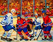 Hockey Prints Paintings - Olympic  Hockey Hopefuls  Painting By Montreal Hockey Artist Carole Spandau by Carole Spandau