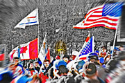 Waving Flag Mixed Media Framed Prints - Olympic Torch Rally Snapshot - SLC 2002 Framed Print by Steve Ohlsen