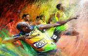 Jamaica Mixed Media Posters - Olympics 100 m Gold Medal Usain Bolt Poster by Miki De Goodaboom