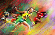Athletics Mixed Media - Olympics 100 metres hurdles Sally Pearson by Miki De Goodaboom