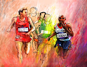 Sports Art Mixed Media - Olympics 10000m Run 01 by Miki De Goodaboom