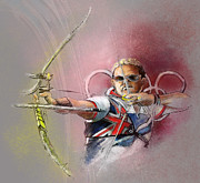 Sports Art Mixed Media - Olympics Archery 01 by Miki De Goodaboom