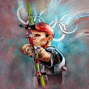 Sports Art Mixed Media - Olympics Archery 02 by Miki De Goodaboom