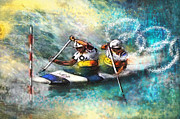 Sports Art Mixed Media Posters - Olympics Canoe Slalom 01 Poster by Miki De Goodaboom