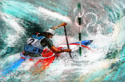 Sports Art Mixed Media Posters - Olympics Canoe Slalom 02 Poster by Miki De Goodaboom