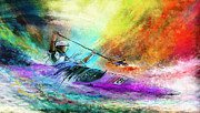 Sports Art Mixed Media Prints - Olympics Canoe Slalom 03 Print by Miki De Goodaboom