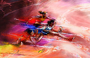 Athletics Mixed Media - Olympics Heptathlon Hurdles 01 by Miki De Goodaboom