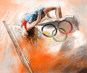 Sports Art Mixed Media - Olympics High Jump Gold Medal Ivan Ukhov by Miki De Goodaboom