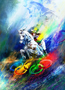 Sports Art Mixed Media - Olympics Horse Jumping 01 by Miki De Goodaboom