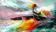 Sports Art Mixed Media Posters - Olympics Kayaking 01 Poster by Miki De Goodaboom