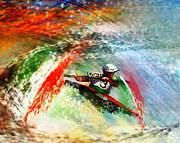 Sports Art Mixed Media Posters - Olympics Kayaking 02 Poster by Miki De Goodaboom