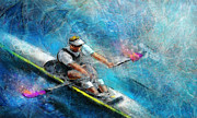Sports Art Mixed Media Posters - Olympics Rowing 01 Poster by Miki De Goodaboom