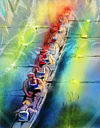 Sports Art Mixed Media Posters - Olympics Rowing 02 Poster by Miki De Goodaboom