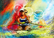 Sports Art Mixed Media Posters - Olympics Rowing 03 Poster by Miki De Goodaboom