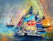 Sports Art Mixed Media - Olympics Sailing 01 by Miki De Goodaboom