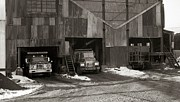 Barre Prints - Olyphant PA Coal Breaker Loading Trucks and Gondola Car Winter 1971 Print by Arthur Miller