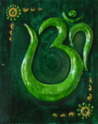 Monochrome Mixed Media Originals - Om in Green by Sandhya Manne