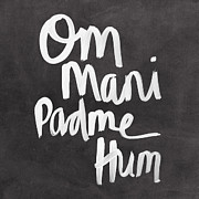 Blackboard Framed Prints - Om Mani Padme Hum Framed Print by Linda Woods