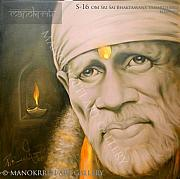 Sai Baba Paintings - OM Sri Sai Bhaktaavana Samarthaaya Namaha by Prince Chand