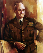 Staff Painting Framed Prints - Omar Bradley Framed Print by War Is Hell Store